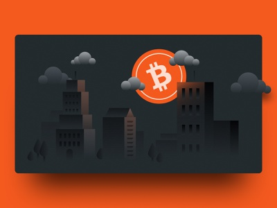 Dispatch - Bitcoin city grain trees night moon buildings clouds newsletter banking fintech cryptocoin crypto vector design graphic design illustration illustrator finance nexo bitcoin