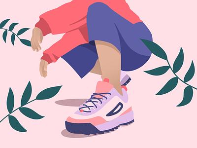 A E S T H E T I C - 3 - pink shoes street style woman flatillustration flat girl leaves illustration sneakers