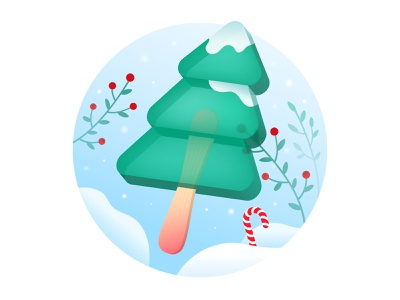 The taste of winter candy cane red green delicious leaves ice cream transparent stick popsicle christmas snow pine winter