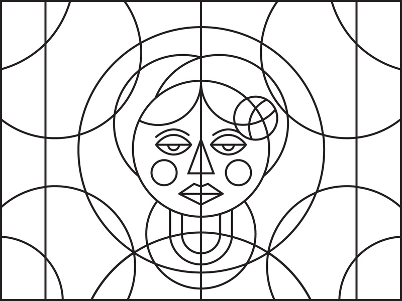 Bulgare - 1 - costume vector art face bulgarian stained glass line art traditional girl woman rose art illustration