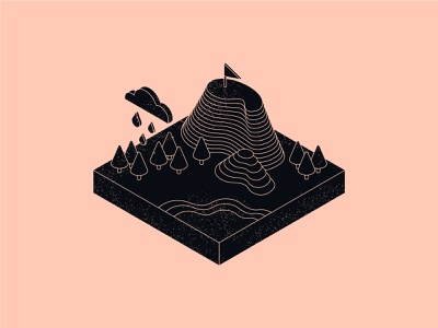 Floating Land isometria isometric art isometric city isometric flag island cloud grain land lake mountain trees floating floating island illustration