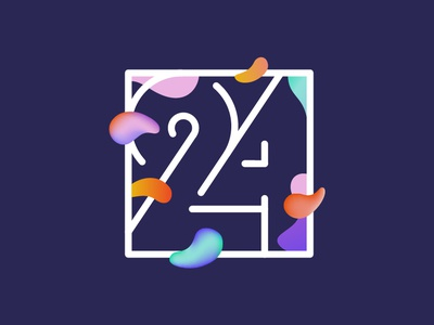 May 24 typography typo stroke outline gradient liquid date number character alphabet 24 font cyrillic