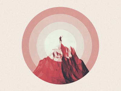 First shot - Hello Dribbble! summit mountain cinema 4d c4d low poly debut illustration