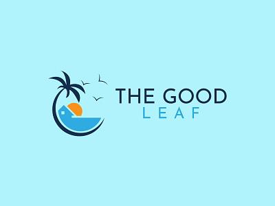 The Good Leaf summer vacation beach good leaf sunset leaf minimalist logo minimalist vector design logo logo design illustration graphic design flat logo branding