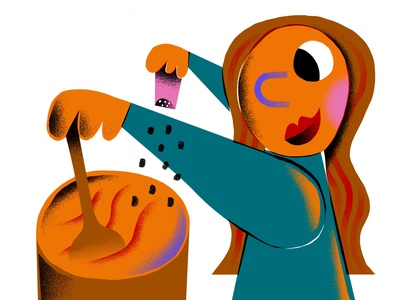 Stay Home & Cook flat character cute colorful fun art design illustrator covid quarantine editorial illustration