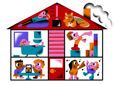 Stay Home art design people fun character colorful flat editorial illustrator illustration home quarantine