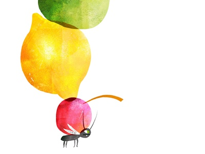 Fruit Ant #2 illo illustrator cute fun procreate app procreate art kids books kids illustration childrens illustration childrens books childrens character kids colorful procreate texture illustration insects ants