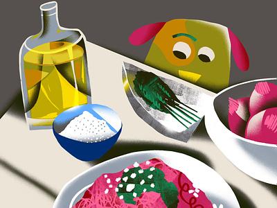 Still Life #1 digital freelance magazine editorial cubism fun procreate cute animals dog character illustrator illustration food illustration food and drink food still life