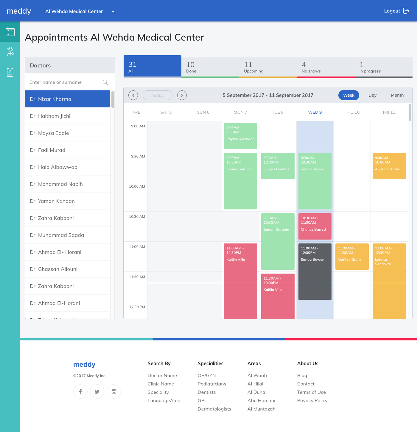 2 1 week appointments dashboard