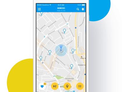 Map view iOS Booking App ukraine flat clean ios app animaiton blue booking ux ui design map