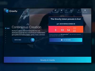 Qravity Landing Animation blue landing gif website flat sketch web clean app ux design ui ukraine animation