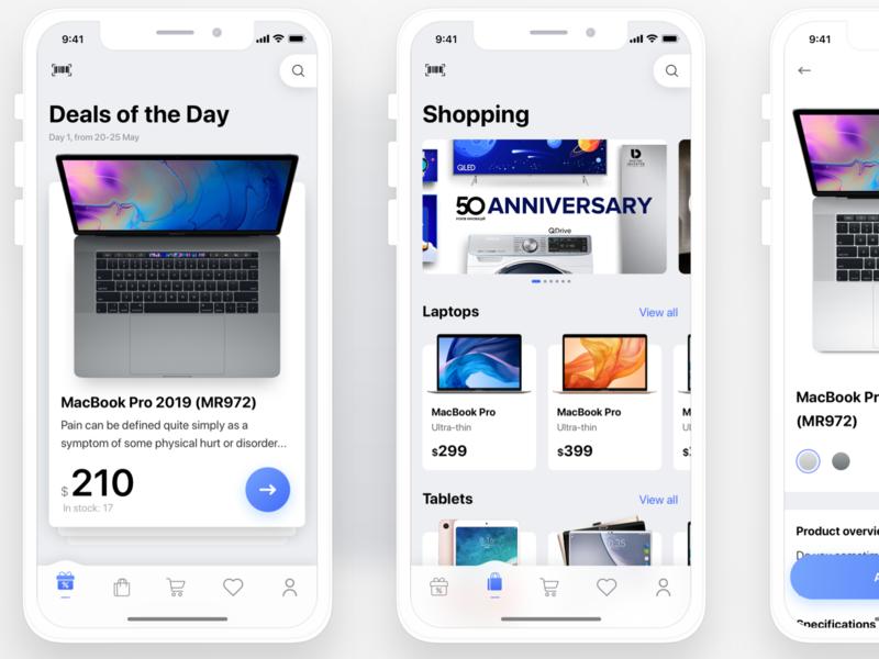 E-commerce store app iOS ecommerce iphone blue ios flat sketch web clean app ux design ui ukraine