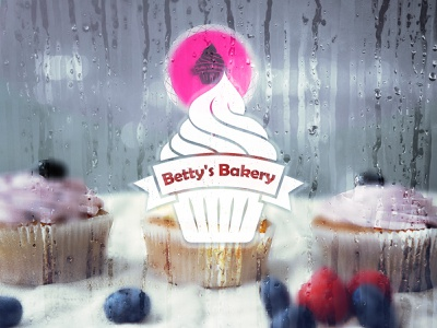 "Daily Logo Challenge: Day 18 ""Betty's Bakery"" clean cupcake shop cakes cupcakes cupcake shape illustration logo dailylogochallenge frosted cakecup bettys bakery"