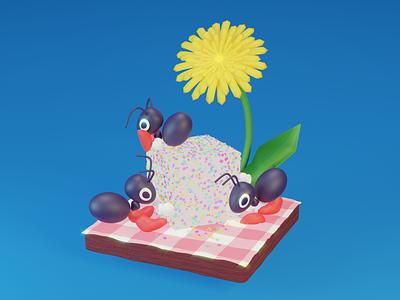Sugar Ants sugar picnic flower dandelion ants ant 3d modeling 3d character illustration