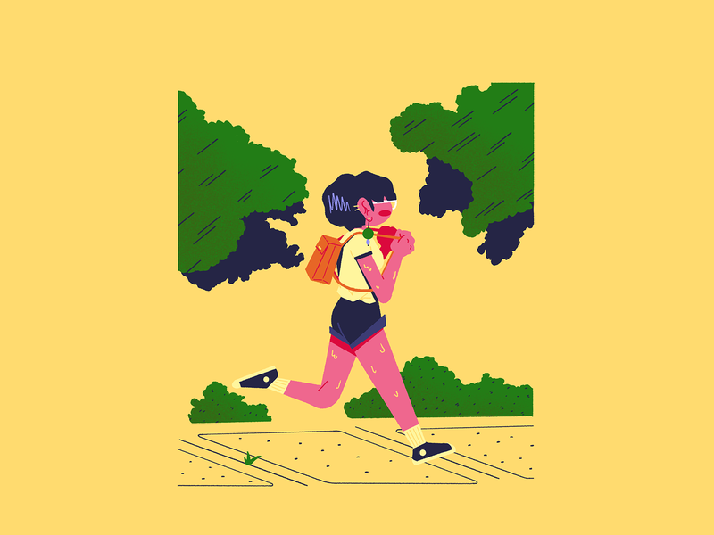 Late Summer Vibes – 2 🏃‍♀️ vibes run jog summertime summer chill illustration drawing character