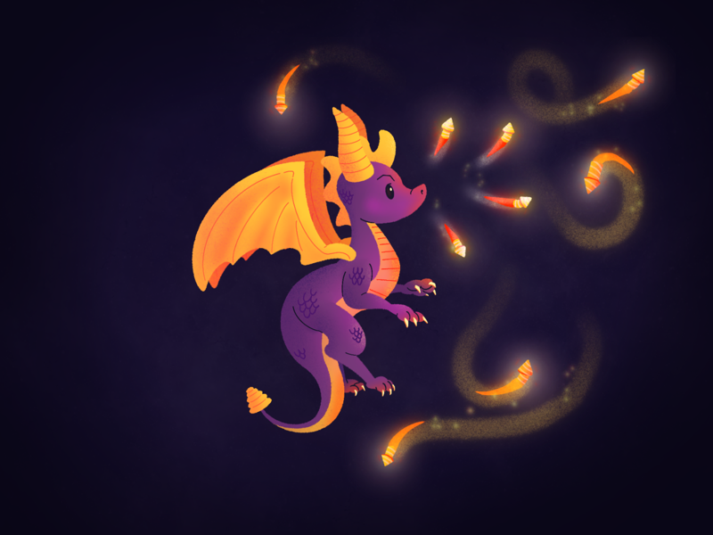 Inktober Day 12 – Dragon lights fire illustration fireworks ps1 playstation spyro gaming game video game dragon inktober2019 inktober