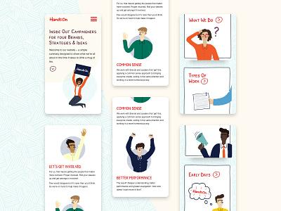 Hands on Brands website design illustration mobile homepage web design