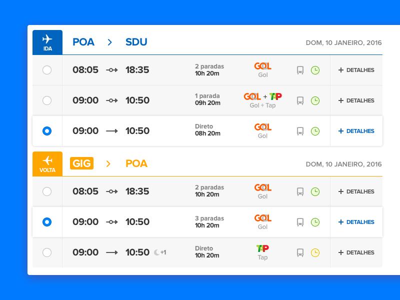 Flight results flight travel ui