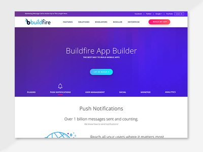 Buildfire website features button icons gradient web design tech startup startup silicon valley