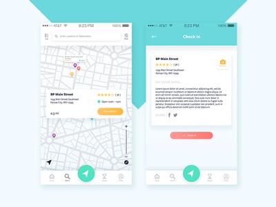 Check in ui ux product design navigation mobile app app design app location ios review gradient button gradient
