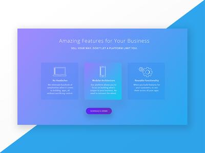Amazing Features web responsive web design icon gradient app product design communication button technology ux ui