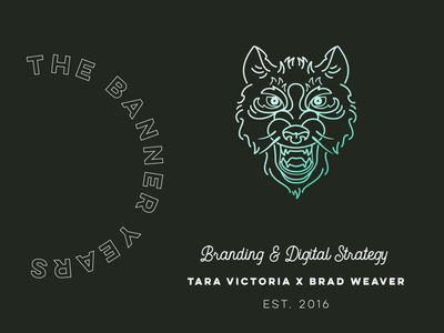 The Banner Years branding logo wolf line illustration wolf icon badge icon iconography typography