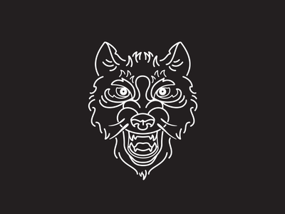The Banner Years - Wolf head typography iconography icon badge wolf icon line illustration wolf logo branding