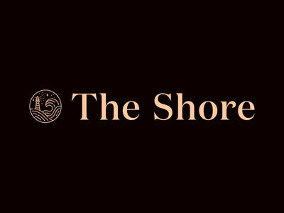 The Shore wordmark mental health branding illustration lighthouse line icon waves stars circle badge logo line illustration