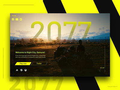 Cyberpunk 2077 Landing Page Interface design cyberpunk future minimalism ux design ux ui design ui
