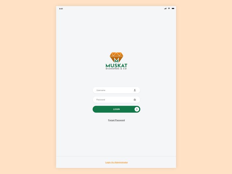 Ipad App Login screen design app