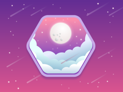 Starry Night gravit designer vector night moon purple pink gradient stars illustration design