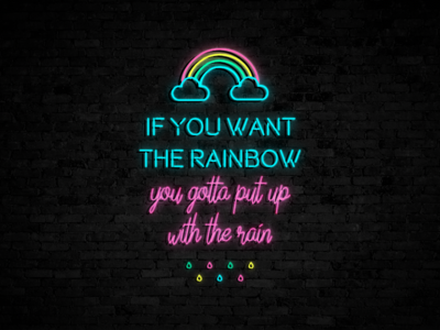 Neon lights gravit designer bold rainbow quote effect sign neon