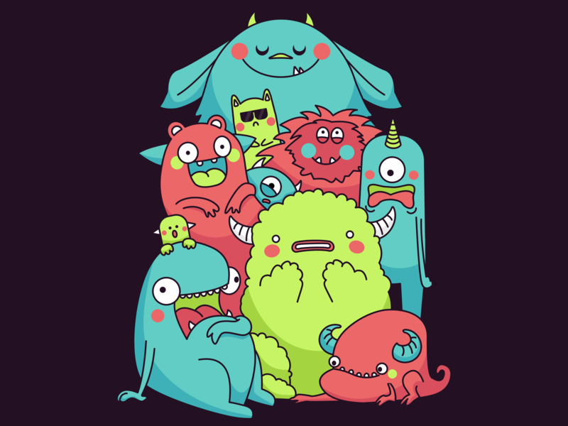 Amazed Monsters vectorart monsters cute creativity illustration gravit designer