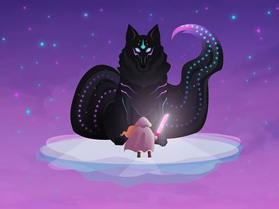 Cosmic Wolf cosmic magical girl fantastical sword girl warrior wolf creativity design vector illustration gravit designer