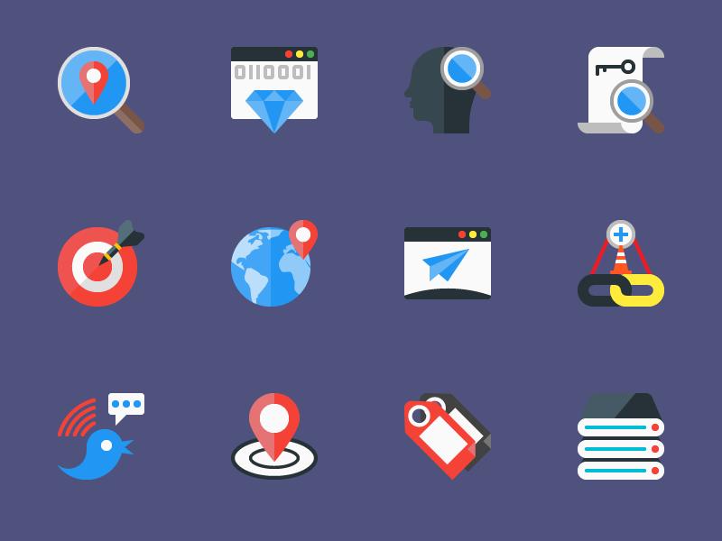 SEO Flat Icons eps ai icon freebies freebie psd vector flat seo icons free