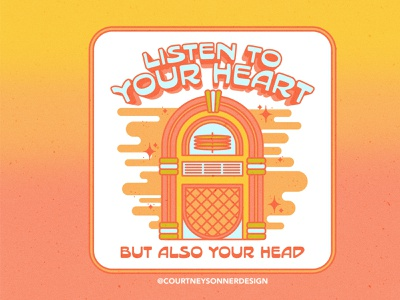 Listen to your heart, but also your head. funky illustration retro type simple illustration icon adobe photoshop t-shirt design adobe illustrator 70s inspired illustration jukebox design retro illustration ui vector logo illustration design branding brand identity brand design brand assets apparel graphic