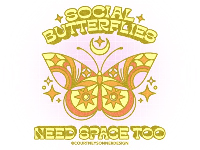 Social Butterflies Need Space Too clean illustration simple illustration vector logo branding design celestial design icon design brand assets apparel graphic retro color palette illustration art adobe illustrator procreate illustration brand identity apparel grpahic space butterfly line illustration illustration