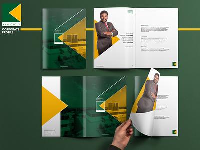Corporate profile geometric design shapes typography design brochure layout branding