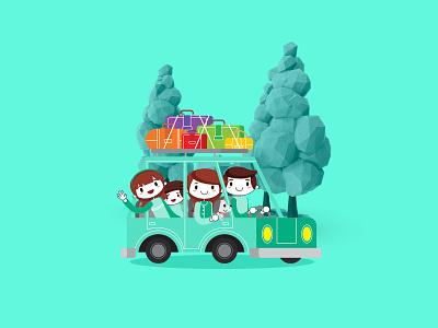 Illustration website 3d cartoon car blue green teal toon design illustration ui