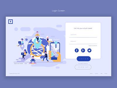 Login Screen authentication login application webpage webportal minimal pages design layout illustration website ux ui