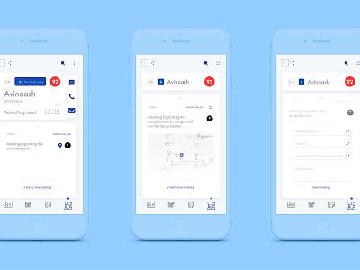 Meetings meetings mobile app handlebars handlebar card ui card invision studio invisionstudio mobile application layout ux ui