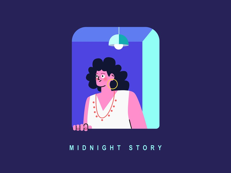 Midnight Story - blue blue flat people story lover window female light night illustration