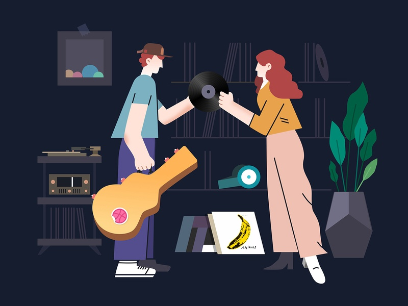 Illustration - Daily vinyl room plants turntable guitar dribbble album record vinyl lp classical illustration icon music
