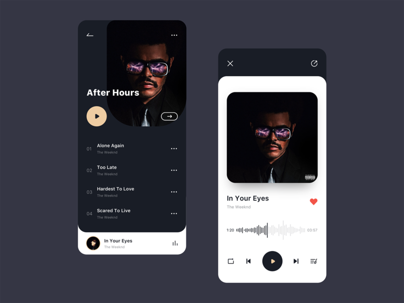 Album Page & Music Player dark mode songs list dark ui app album ui record music