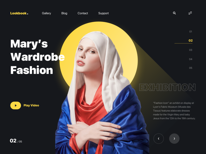 Lookbook Website Design dark theme dark ui layout graphic interface ux ui web design web clothing halo yellow lookbook gallery exhibition video mary fashion webdesign website