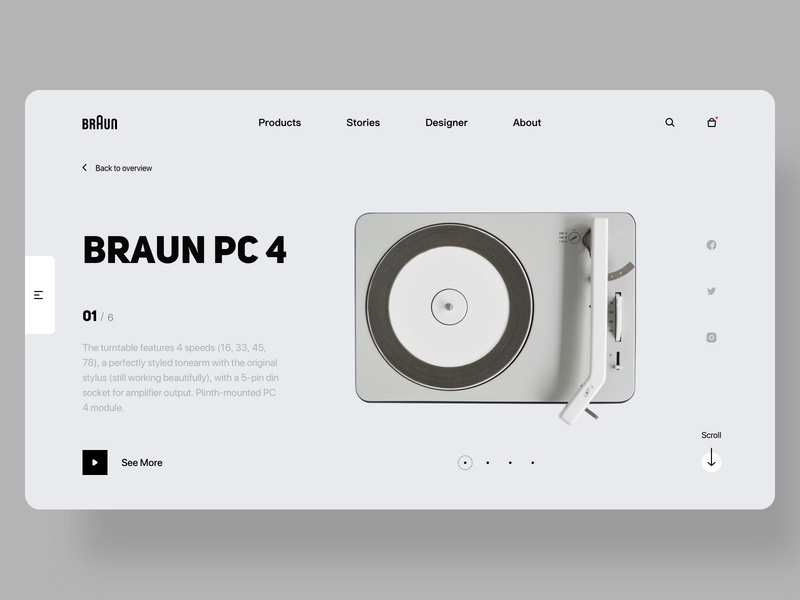 Braun Web Design - PC 4 layout interface white bright typogaphy ux ui braun product products turntable web design website web
