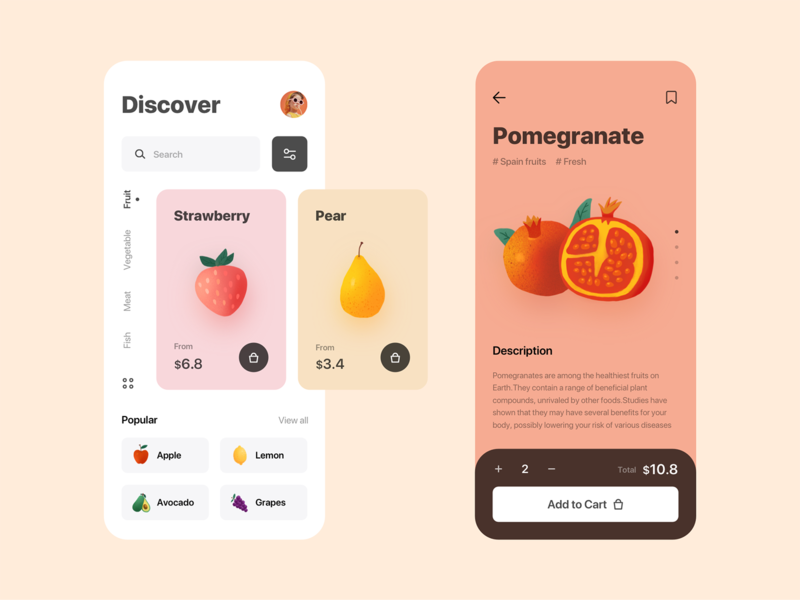 Groceries Shopping - App design uidesign ui strawberry store shopping pomegranate pear lemon illustration grocery grapes fruit avocado apple app design app