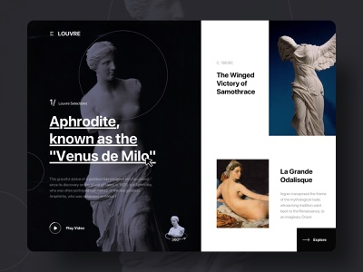 Louvre Web Design aphrodite painting sculpture selections louvre typegraphy artwork collection ux ui web design website web