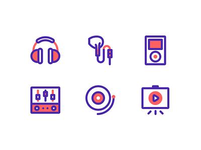 ICON - Media 2 music icon equipment video reocrd ipod outline music headphones
