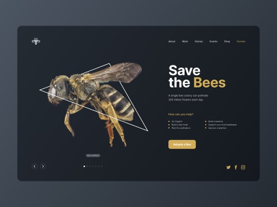 Save the bees landing minimal design interface clean home bees bee ux ui dark ui landingpage design landing page ui landing design landingpage landing save the bees
